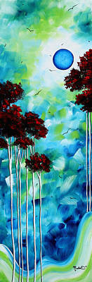 Abstract Landscape Art Original Tree And Moon Painting Blue Moon By Madart Art Print by Megan Duncanson