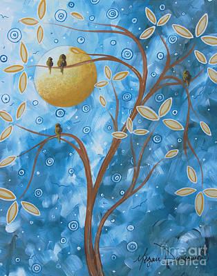 Abstract Landscape Bird Painting Original Art Blue Steel 1 By Megan Duncanson Art Print by Megan Duncanson