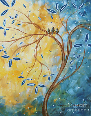 Abstract Landscape Bird Painting Original Art Blue Steel 2 By Megan Duncanson Art Print