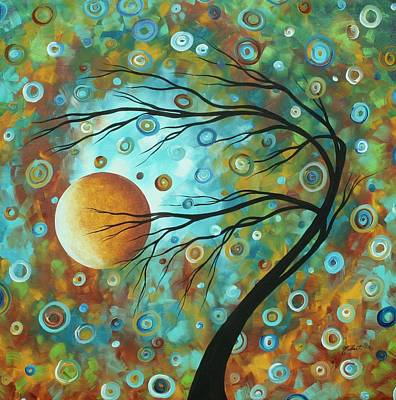 Large Moon Painting - Abstract Landscape Circles Art Colorful Oversized Original Painting Pin Wheels In The Sky By Madart by Megan Duncanson