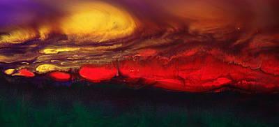 Abstract Landscape Fluid Art Dancing Sunset By Kredart  Art Print by Serg Wiaderny