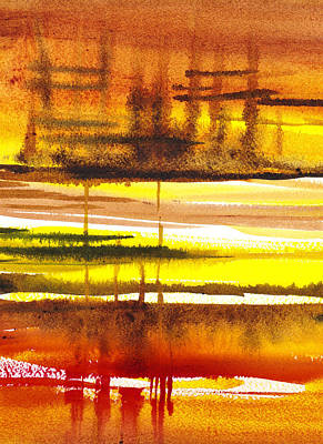 Landscapes Royalty-Free and Rights-Managed Images - Abstract Landscape Lost Reflections by Irina Sztukowski