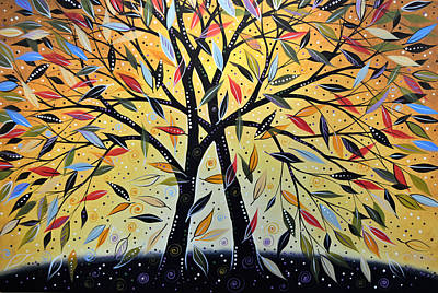 Abstract Landscape Modern Tree Art Painting ... New Day Dawning Art Print by Amy Giacomelli