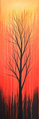 Painting - Abstract Landscape Original Trees Art Print Painting ... Twilight Trees #1 by Amy Giacomelli