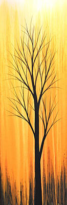 Painting - Abstract Landscape Original Trees Art Print Painting ... Twilight Trees #2 by Amy Giacomelli