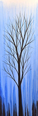 Painting - Abstract Landscape Original Trees Art Print Painting ... Twilight Trees #4 by Amy Giacomelli
