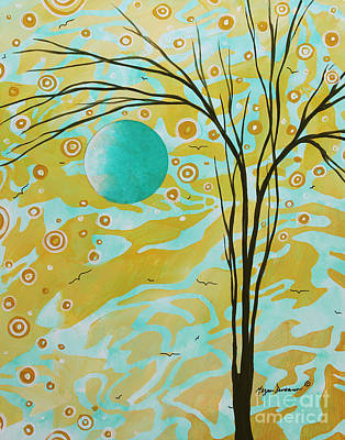 Abstract Landscape Painting Animal Print Pattern Moon And Tree By Madart Art Print