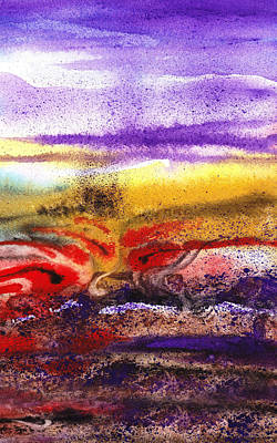 Abstractions Painting - Abstract Landscape Purple Sunrise Earthy Swirl by Irina Sztukowski