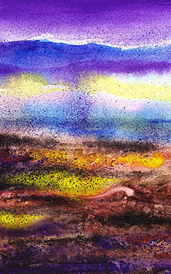 Abstract Landscape Purple Sunrise Yellow Fog Art Print by Irina Sztukowski
