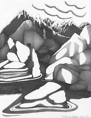 Abstract Landscape Rock Art Black And White By Romi Art Print