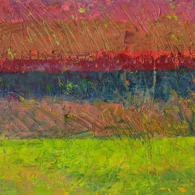 Abstract Landscape Series - Lake And Hills Art Print by Michelle Calkins