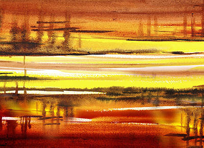 Landscapes Royalty-Free and Rights-Managed Images - Abstract Landscape Warm Reflections by Irina Sztukowski