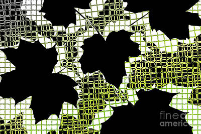 Abstract Leaf Pattern - Black White Lime Green Art Print by Natalie Kinnear