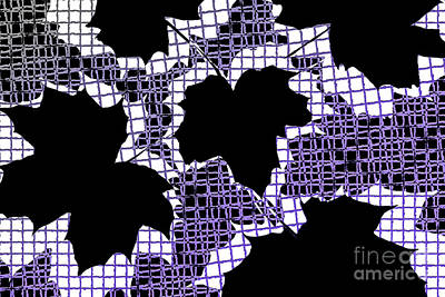 Nature Study Digital Art - Abstract Leaf Pattern - Black White Purple by Natalie Kinnear