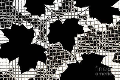 Abstract Leaf Pattern - Black White Sepia Art Print