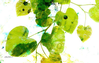 Abstract Leaves Green And White  Print by Ann Powell