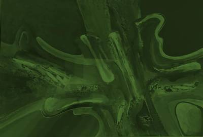 Painting - Abstract Light Art Olive Green by Rob Hans