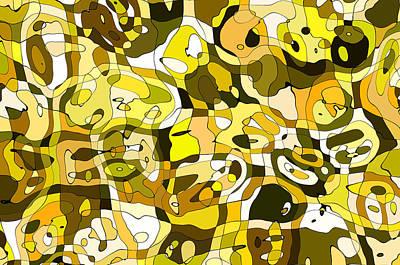 Contemporary Abstract Digital Art - Abstract Lines Yellow Green by Georgiana Romanovna