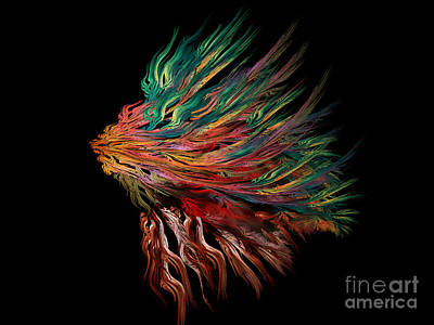Abstract Digital Digital Art - Abstract Lion's Head by Klara Acel