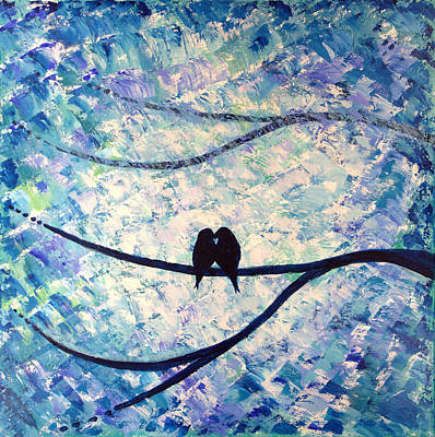 Tim Painting - Abstract Love Birds  by Tim Leung