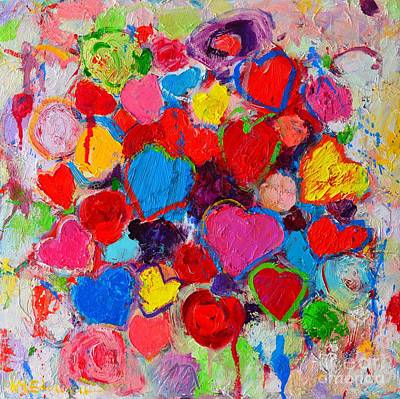 Vivid Colour Painting - Abstract Love Bouquet Of Colorful Hearts And Flowers by Ana Maria Edulescu