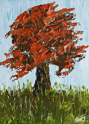 Abstract Maple Tree Palette Knife Painting Art Print by Keith Webber Jr