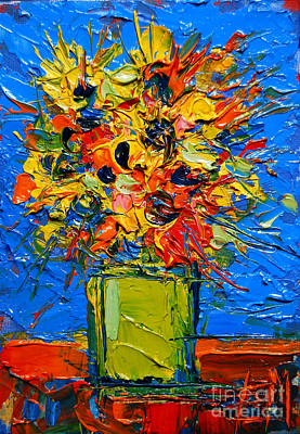 Joy Painting - Abstract Miniature Bouquet by Mona Edulesco
