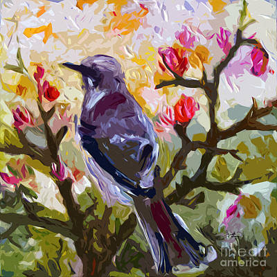 Mockingbird Painting - Abstract Mockingbird In Spring  by Ginette Callaway