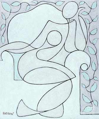 Painting - abstract modern art - Nude with Lines and Vines by Sharon Hudson