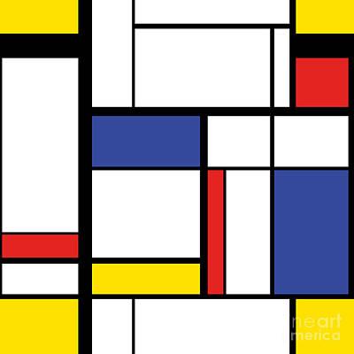 Cubism Wall Art - Digital Art - Abstract Modern Painting In Mondrian by Lars Poyansky