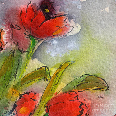 Abstract Modern Red Tulips Watercolor Art Print