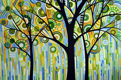 Abstract Modern Tree Landscape Spring Rain By Amy Giacomelli Art Print by Amy Giacomelli