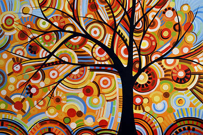 Abstract Leaves Painting - Abstract Modern Tree Landscape Thoughts Of Autumn By Amy Giacomelli by Amy Giacomelli