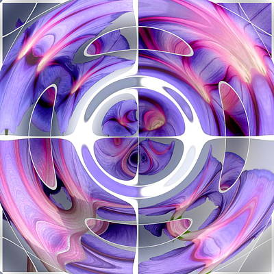 Photograph - Abstract Morning Glory Fish Eye Collage by Taiche Acrylic Art