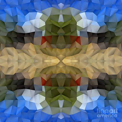 Digital Art - Abstract Mosaic In Blue Brown Green Red by Beverly Claire Kaiya