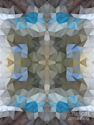 Abstract Mosaic In Cool Silver Blue Brown Art Print by Beverly Claire Kaiya