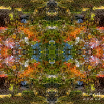 Digital Art - Abstract Mosaic In Green Blue Orange by Beverly Claire Kaiya