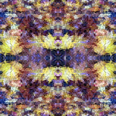 Abstract Mosaic In Yellow Blue Purple Art Print by Beverly Claire Kaiya