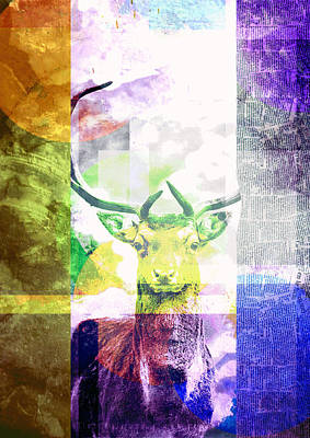 Digital Art - Abstract Nature Deer Portrait by IamLoudness Studio