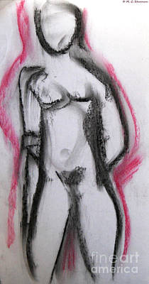 Painting - Abstract Nude With Red by M c Sturman