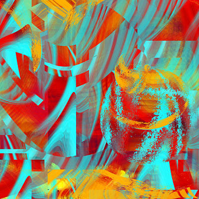 Digital Art - Shattered Blue - 051 by rd Erickson