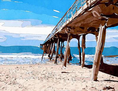 Abstract Ocean Pier Art Print by Phil Perkins
