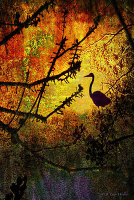 Abstract Of Great Blue Heron At Sunrise Print by J Larry Walker