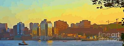 Reflections Of Sun In Water Painting - Abstract Of Halifax by John Malone