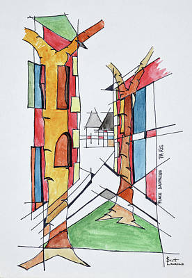 Abstract Of Place Dauphine, Ile De La Art Print