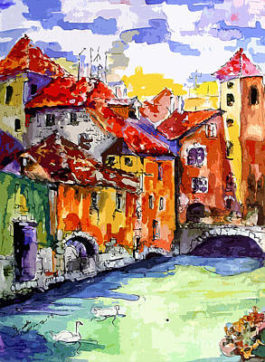 Swan Mixed Media - Abstract Old Houses In Annecy France by Ginette Callaway