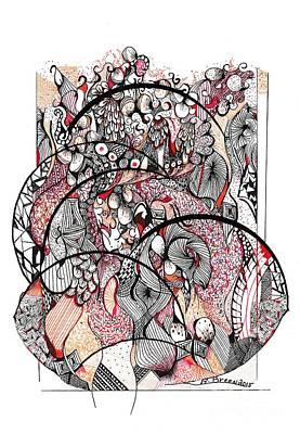 Uplifting Drawing - Abstract Orange by Ronda Breen