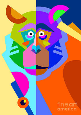 Ape Wall Art - Digital Art - Abstract Original Monkey Drawing In by Karakotsya