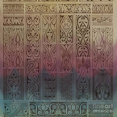 Pinks And Purple Petals Mixed Media - Abstract Ornamental Motif With Absratct Mood by Art World