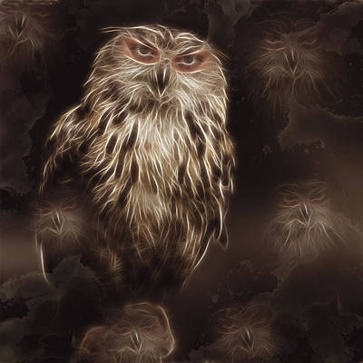 Owl Painting - Abstract Owl Digital Artwork by Georgeta Blanaru